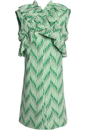 MARNI Crossover ruffle-trimmed printed cotton-poplin dress