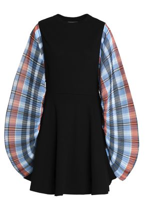 OPENING CEREMONY Checked crepe-paneled ribbed cotton-blend mini dress