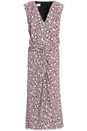 MARNI Gathered printed crepe midi dress
