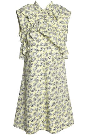 MARNI Crossover ruffle-trimmed floral-print cotton-poplin dress