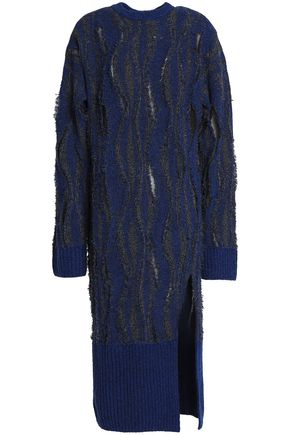 OPENING CEREMONY Cutout frayed marled-bouclé midi dress