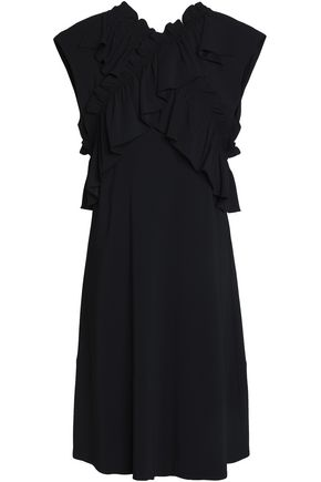 MARNI Ruffle-trimmed crepe dress