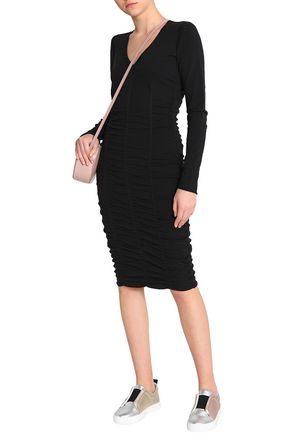 Opening Ceremony Woman Ruched Stretch-knit Dress Black Size S Opening Ceremony