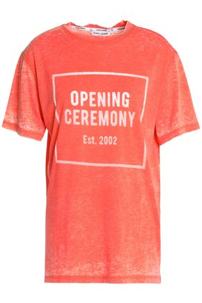 OPENING CEREMONY Devoré-cotton-blend slub-jersey T-shirt