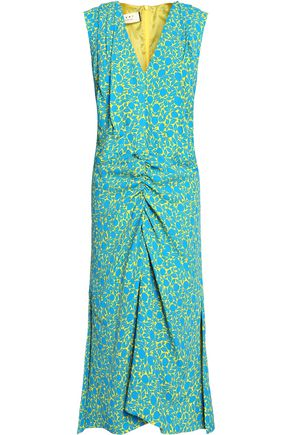 MARNI Printed ruched crepe midi dress