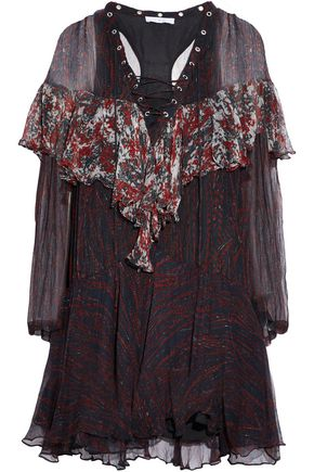 IRO Lace-up printed ruffled georgette mini dress