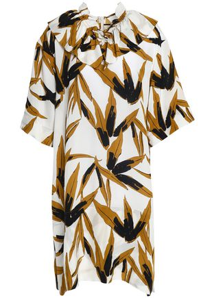 MARNI Ruffle-trimmed printed crepe de chine dress