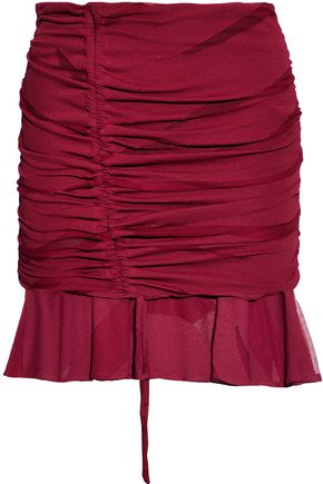 IRO Ruched gauze and cloqu� mini skirt