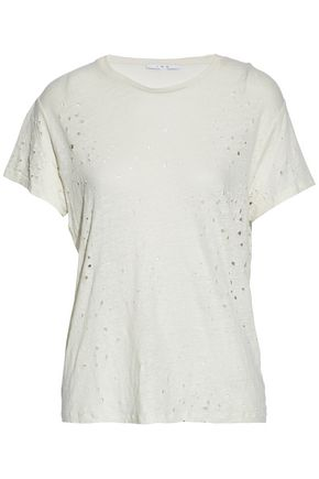 IRO Distressed slub linen-jersey T-shirt