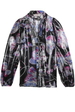 EMILIO PUCCI Pussy-bow printed metallic silk-blend blouse