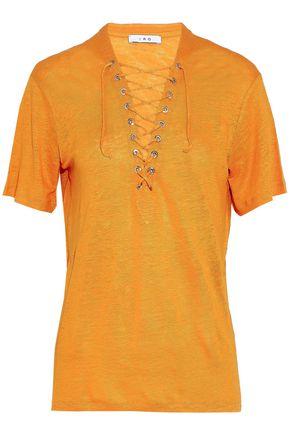 IRO Lace-up slub linen-jersey top
