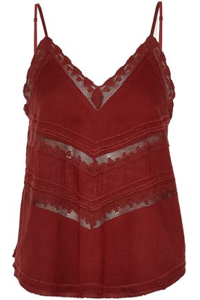 IRO Crochet-trimmed embroidered voile top