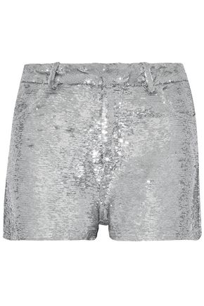 IRO Sequined stretch-knit shorts