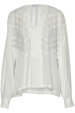 IRO Lace-paneled pintucked gauze blouse