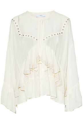 IRO Eyelet-embellished ruffled voile top
