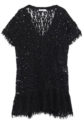 IRO Frayed cloqué guipure lace mini dress