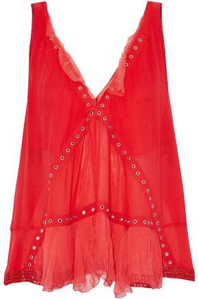 IRO Tiered eyelet-embellished crochet-trimmed crepe top