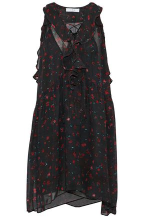 IRO Lace-up ruffled floral-print chiffon dress