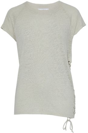 IRO Lace-up slub linen T-shirt