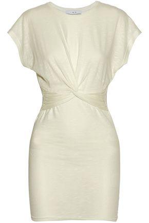 IRO Knotted mélange stretch-jersey mini dress