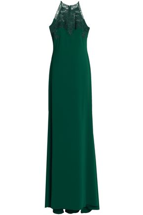 BADGLEY MISCHKA Embroidered tulle-paneled crepe gown