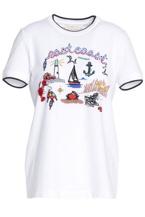 TORY BURCH Embellished cotton-jersey T-shirt
