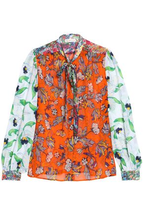 TORY BURCH Pussy-bow floral-print silk-crepon blouse