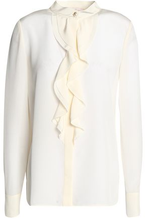 TORY BURCH Ruffled silk top
