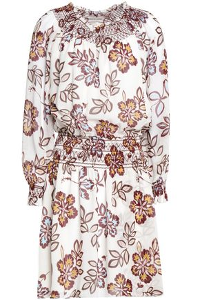 TORY BURCH Off-the-shoulder gathered floral-print silk-crepe mini dress