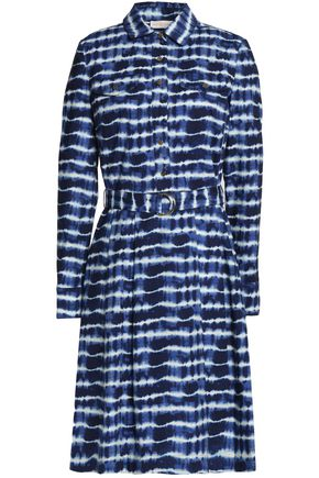 TORY BURCH Belted tie-dye cotton-poplin dress