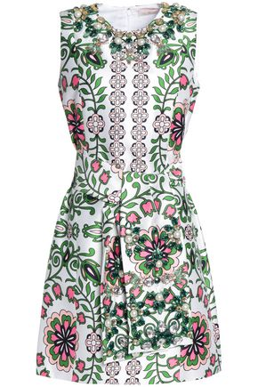 TORY BURCH Embellished printed twill mini dress