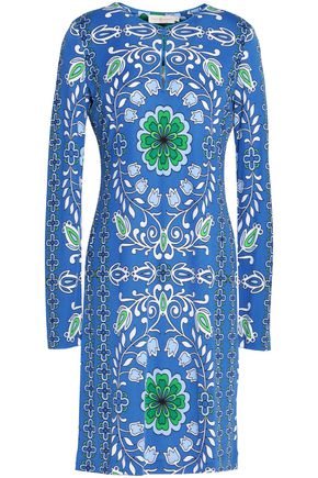 TORY BURCH Printed stretch-jersey mini dress