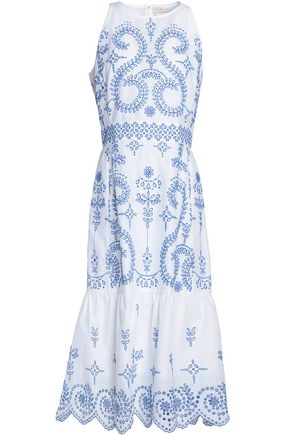 TORY BURCH Embroidered cotton midi dress