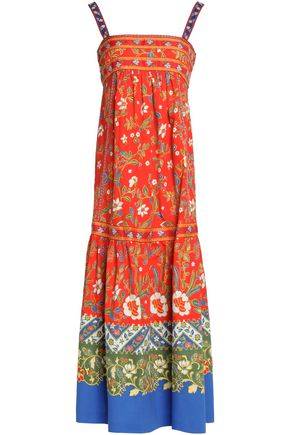 TORY BURCH Printed stretch-cotton midi dress