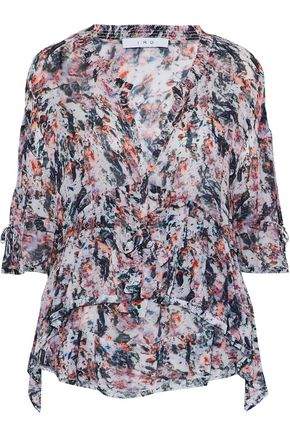 IRO Milia ruffled printed gauze top