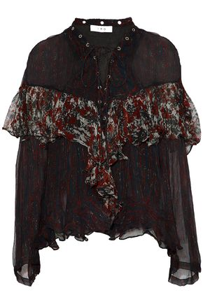 IRO Lace-up printed crinkled gauze blouse