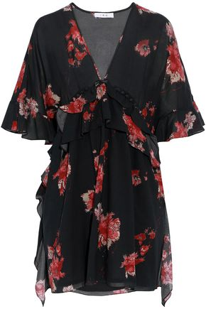 IRO Falal ruffled floral-print voile mini dress