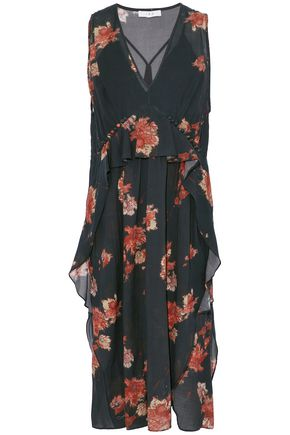 IRO Ruffled floral-print cotton-blend voile midi dress