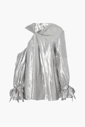 IRO Asymmetric cold-shoulder twist-front lamé blouse