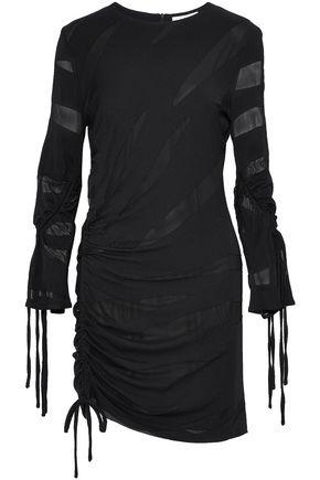 IRO Ruched cloqué and gauze mini dress