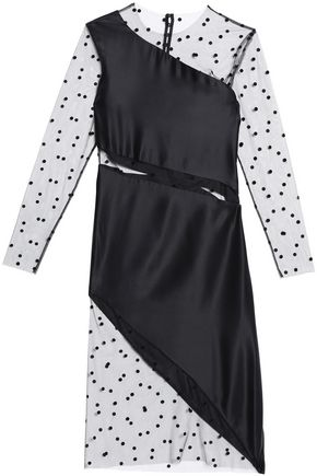 MICHELLE MASON Swiss-dot mesh-paneled silk dress