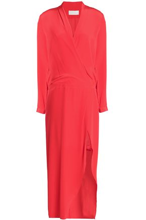 MICHELLE MASON Wrap-effed lace-trimmed draped silk-crepe de chine midi dress