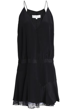 MICHELLE MASON Lace-trimmed draped silk-blend crepe mini dress