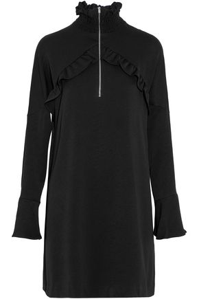 IRO Ruffle-trimmed gathered crepe turtleneck mini dress
