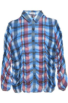 OPENING CEREMONY Checked ruched crepe shirt