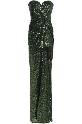BADGLEY MISCHKA Strapless sequinned mesh gown