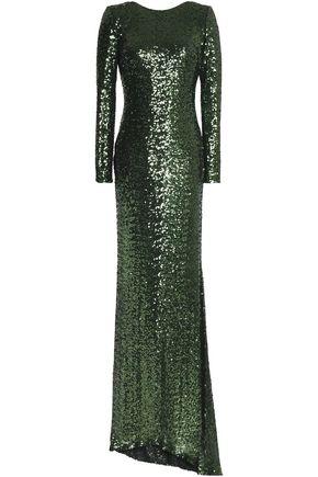 BADGLEY MISCHKA Open-back sequined mesh gown