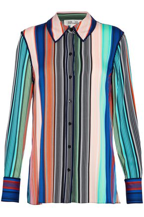 DIANE VON FURSTENBERG Striped stretch-silk satin shirt
