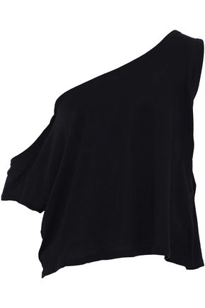 IRO One-shoulder cotton and silk-blend jersey top