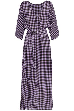 DIANE VON FURSTENBERG Gingham silk midi wrap dress